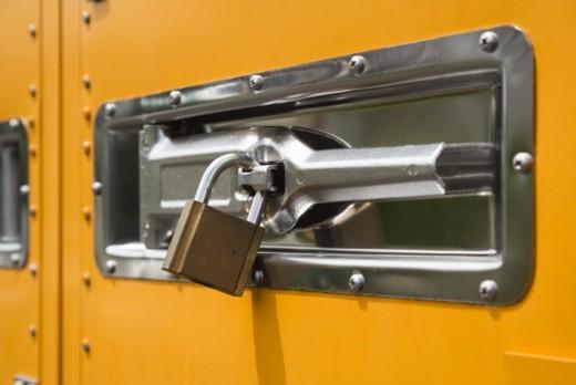Padlock and door handle : Stock Photo