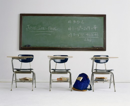 School desks and chalkboard : Stock Photo