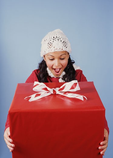 Stock Photo: 1555R-320267 Excited girl holding present