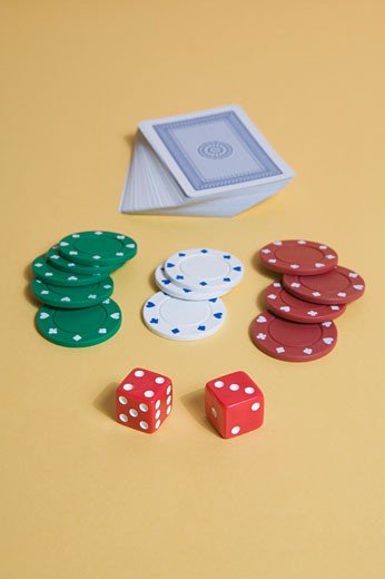 Playing cards and poker chips : Stock Photo