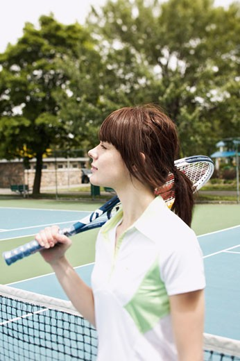 Stock Photo: 1555R-321472 Tennis player with racket
