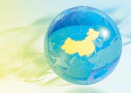 Stock Photo: 1555R-324110 Globe with China