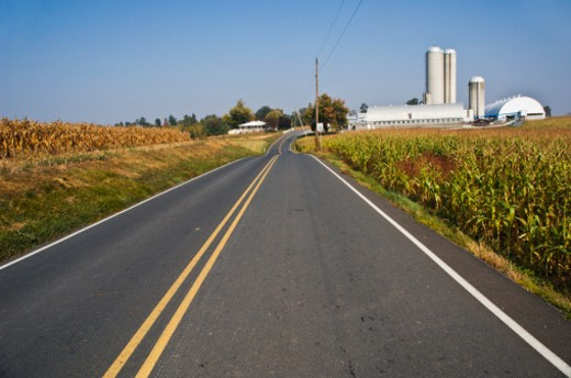 Country road through farmland, Adams County, Pennsylvania : Stock Photo