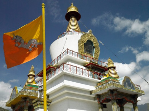 Stock Photo: 1555R-325020 Kings Memorial Chorten or burial chamber, Bhutan