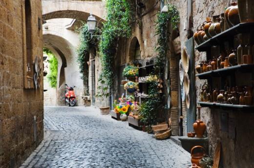 Cobblestone alleyway : Stock Photo