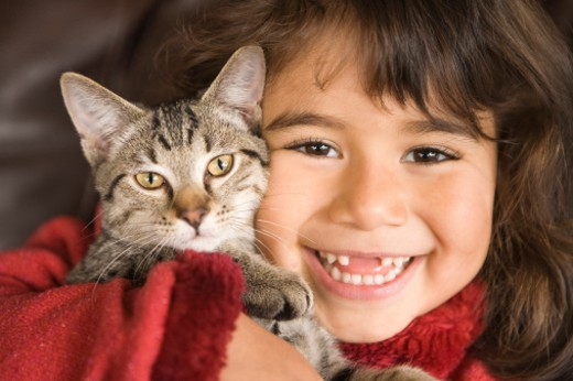 Portrait of girl with kitten : Stock Photo