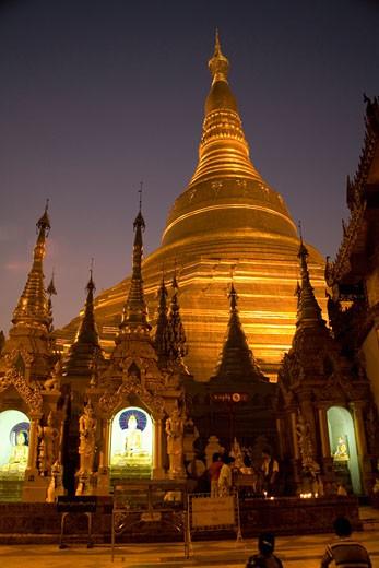 Buddhist monastery at night,  Burma : Stock Photo