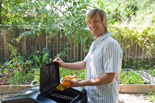 Man throwing away garbage in compost bin : Stock Photo