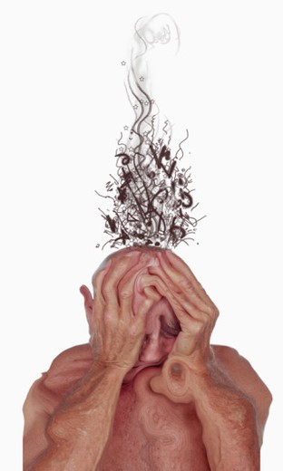 Melting man grasping head in agony : Stock Photo