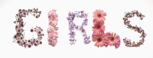 Flowers spelling girl : Stock Photo