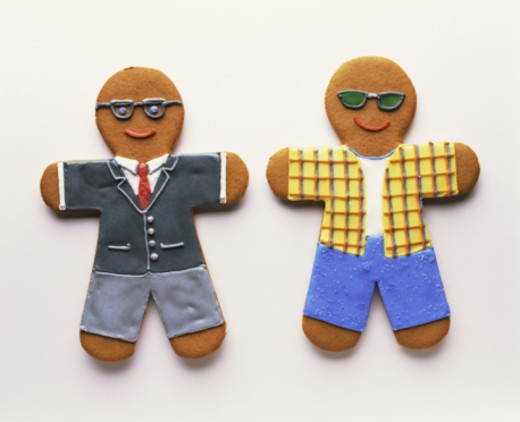 Gingerbread men dressed in differing vocations : Stock Photo