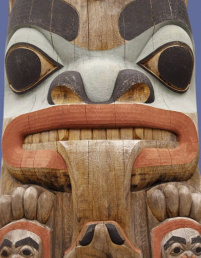 Stock Photo: 1555R-334163 Colorful totem pole in Sitka, Alaska