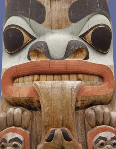 Colorful totem pole in Sitka, Alaska : Stock Photo