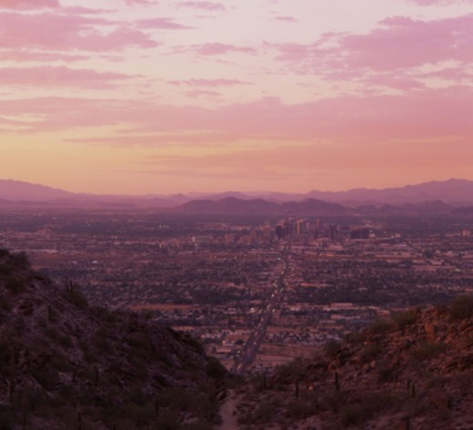 Stock Photo: 1555R-334705 Phoenix, Arizona at sunset