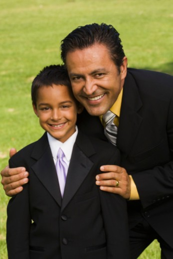 Father and son at quinceanera : Stock Photo