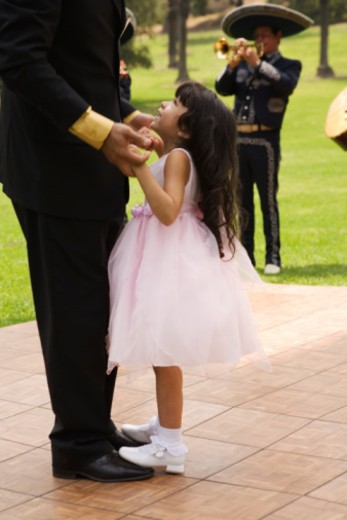 Father and girl dancing at quinceanera : Stock Photo