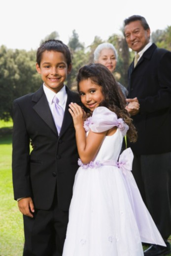 Boy and girl at quinceanera : Stock Photo