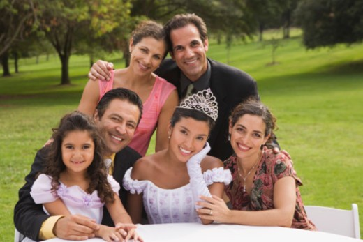Portrait of family at quinceanera : Stock Photo