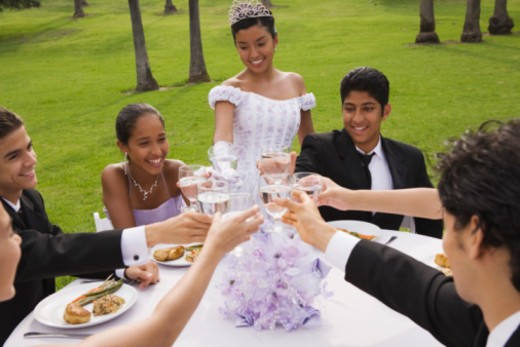 Teens toasting at quinceanera : Stock Photo