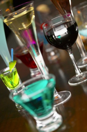 Colorful assortment of bar cocktails : Stock Photo