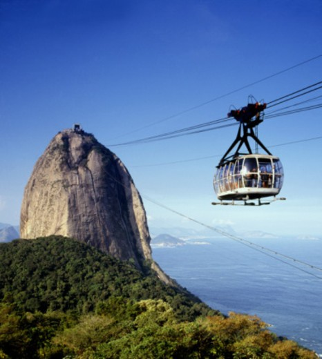 Stock Photo: 1555R-337920 Cable car near Sugarloaf Mountain, Brazil