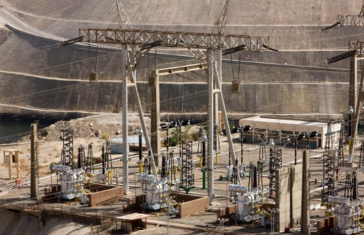 Stock Photo: 1555R-338916 pylons and cables at Aswan Dam