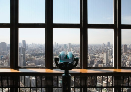 View of Tokyo skyline from observation deck : Stock Photo
