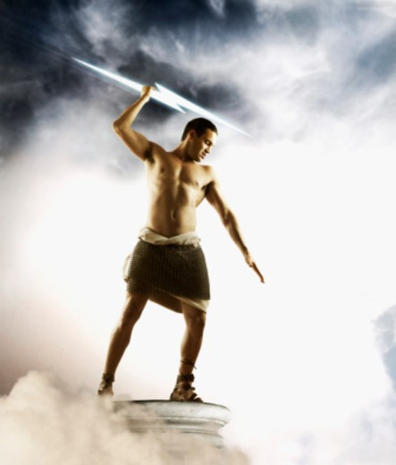 Zeus holding lightning bolt : Stock Photo