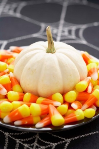 Miniature squash with candy corn : Stock Photo