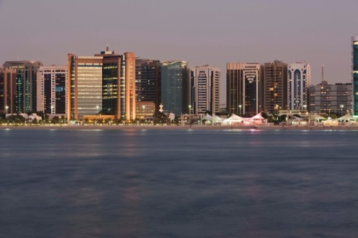 Skyline and beach of Abu Dhabi, United Arab Emirates : Stock Photo