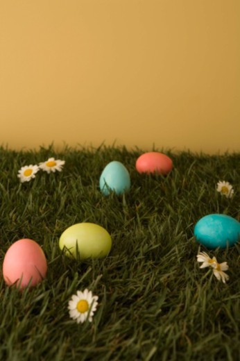 Easter eggs in grass : Stock Photo