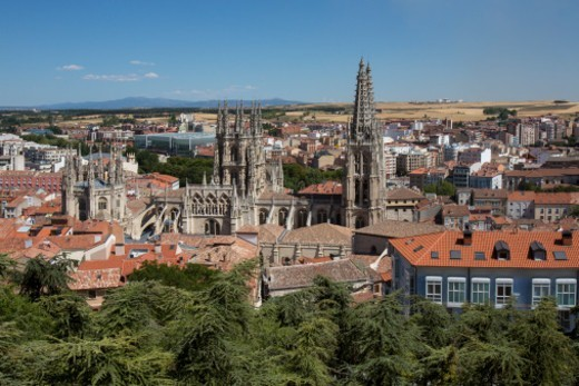 Stock Photo: 1555R-345892 Burgos Cathedral and the city of Burgos in the Castilla-y-Leon region of northern Spain.
