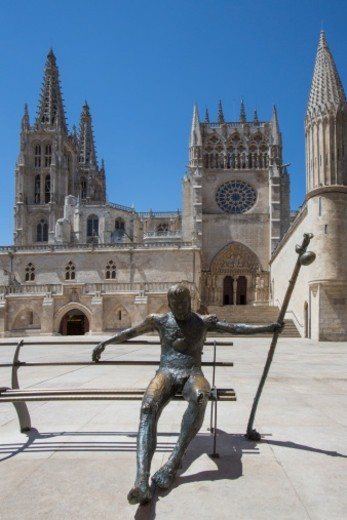 Stock Photo: 1555R-345893 Leper statue outside Burgos Cathedral in the city of Burgos in the Castilla-y-Leon region of northern Spain.
