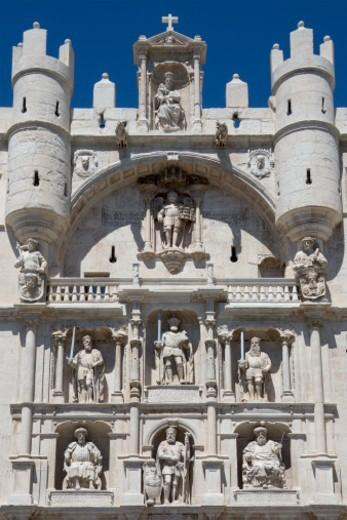 Stock Photo: 1555R-345896 The Arco de Santa Maria in the city of Burgos in the Castilla-y-Leon region of northern Spain.