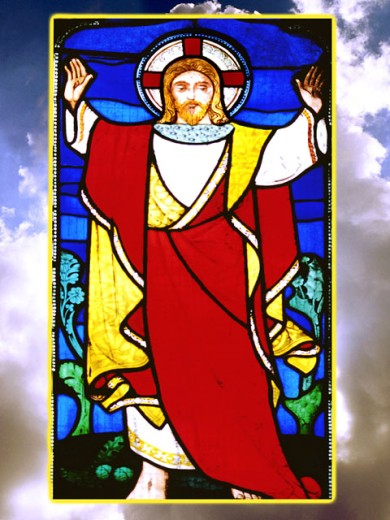 Stock Photo: 1555R-5010 Jesus stained glass in sky