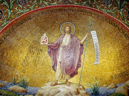 Benedictine abbey mosaic of Jesus : Stock Photo