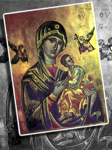 Painting of Virgin Mary and baby Jesus : Stock Photo
