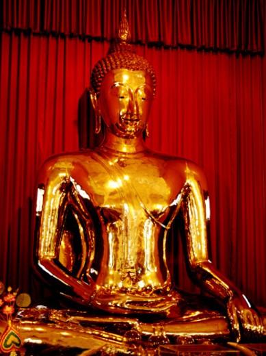 Stock Photo: 1555R-5066 Golden Buddha statue, Temple of the Golden Buddha, Thailand