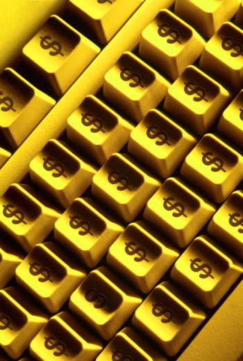 Computer keyboard with dollar signs : Stock Photo
