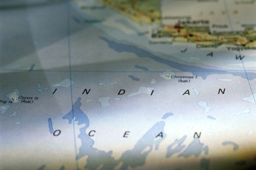 Indian ocean on map : Stock Photo
