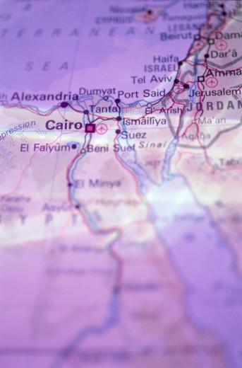 Stock Photo: 1555R-52085 Cairo, Egypt on map