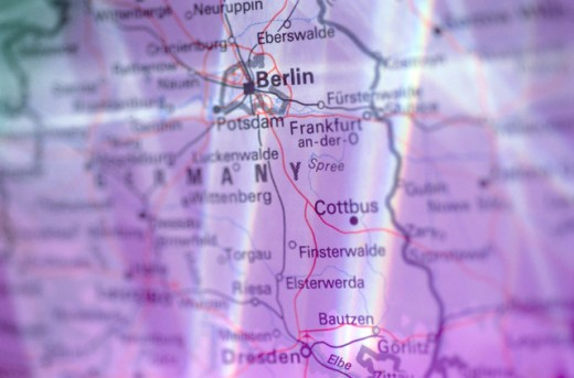 Stock Photo: 1555R-52135 Berlin, Germany on map
