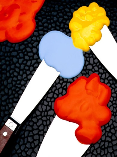 Stock Photo: 1555R-75093 Splatters of color on spreading knives