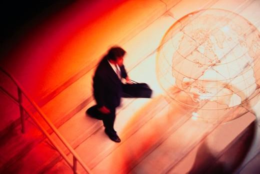 Stock Photo: 1555R-93080 Man walking down steps
