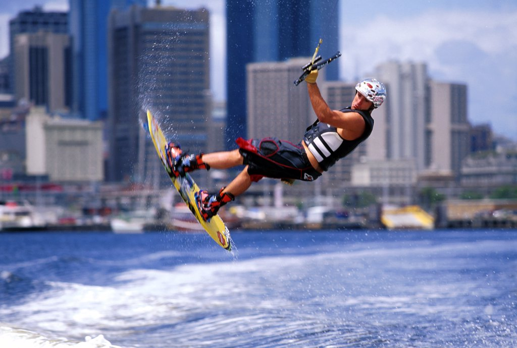 Young adult man wakeboarding, Melbourne, Australia : Stock Photo
