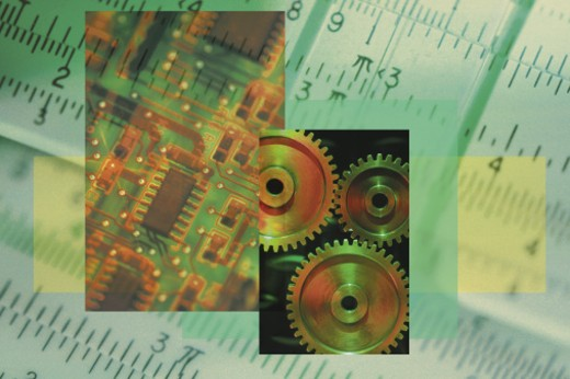 Stock Photo: 1557R-0145 Collage of slide rule with gears and computer chip