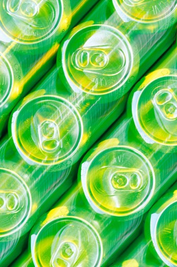 Aluminum beverage cans on assembly line : Stock Photo