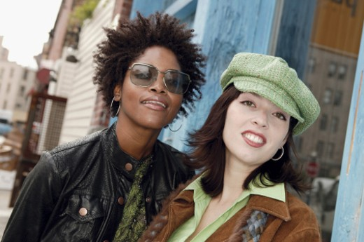 Portrait of two urban women outdoors : Stock Photo