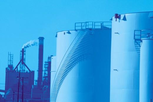 Oil storage tanks at refinery : Stock Photo