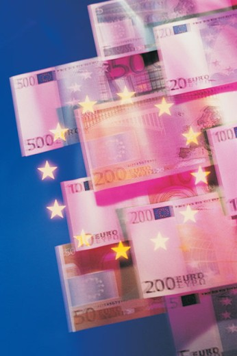 Stock Photo: 1557R-01928 Floating Euros with stars